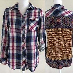 Mixed Media Plaid Button Up by Via Milano!